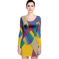 Unknown Abstract Modern Art By Eml180516 Long Sleeve Velvet Bodycon Dress