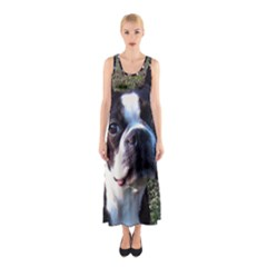 Boston Terrier Sleeveless Maxi Dress