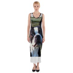 Boston Terrier Fitted Maxi Dress
