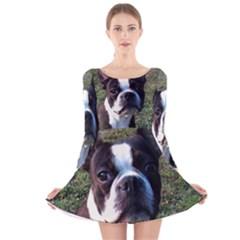 Boston Terrier Long Sleeve Velvet Skater Dress
