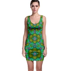 Peace Flowers In A Scandinavia Mix Of Acrylpaint Sleeveless Bodycon Dress