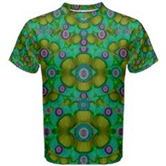 Peace Flowers In A Scandinavia Mix Of Acrylpaint Men s Cotton Tee