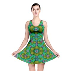 Peace Flowers In A Scandinavia Mix Of Acrylpaint Reversible Skater Dress