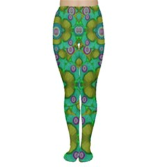 Peace Flowers In A Scandinavia Mix Of Acrylpaint Women s Tights