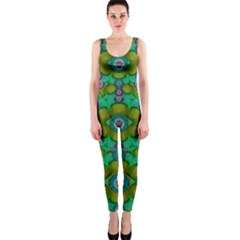 Peace Flowers In A Scandinavia Mix Of Acrylpaint OnePiece Catsuit