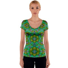Peace Flowers In A Scandinavia Mix Of Acrylpaint Women s V-Neck Cap Sleeve Top