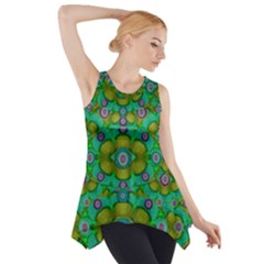 Peace Flowers In A Scandinavia Mix Of Acrylpaint Side Drop Tank Tunic