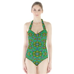 Peace Flowers In A Scandinavia Mix Of Acrylpaint Women s Halter One Piece Swimsuit