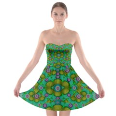 Peace Flowers In A Scandinavia Mix Of Acrylpaint Strapless Dresses