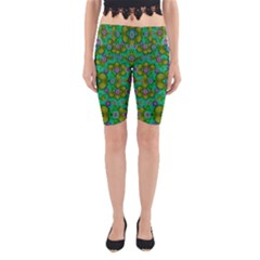 Peace Flowers In A Scandinavia Mix Of Acrylpaint Yoga Cropped Leggings