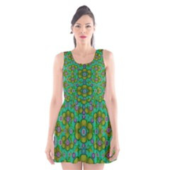 Peace Flowers In A Scandinavia Mix Of Acrylpaint Scoop Neck Skater Dress