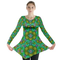 Peace Flowers In A Scandinavia Mix Of Acrylpaint Long Sleeve Tunic