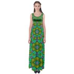 Peace Flowers In A Scandinavia Mix Of Acrylpaint Empire Waist Maxi Dress