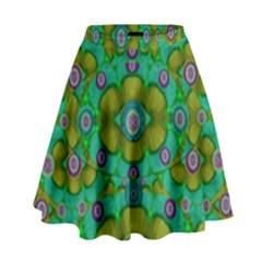 Peace Flowers In A Scandinavia Mix Of Acrylpaint High Waist Skirt