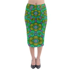 Peace Flowers In A Scandinavia Mix Of Acrylpaint Midi Pencil Skirt