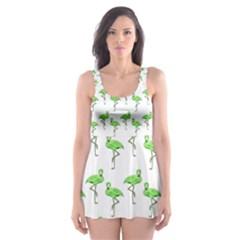 Neon Green Flamingos Pattern Skater Dress Swimsuit