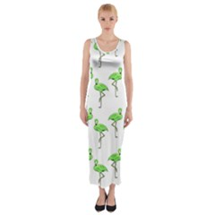 Neon Green Flamingos Pattern Fitted Maxi Dress
