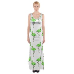 Neon Green Flamingos Pattern Maxi Thigh Split Dress