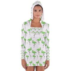 Neon Green Flamingos Pattern Women s Long Sleeve Hooded T-shirt