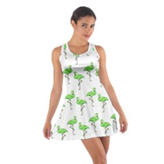 Neon Green Flamingos Pattern Racerback Dresses