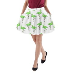 Neon Green Flamingos Pattern A-Line Pocket Skirt