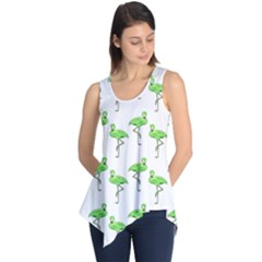 Neon Green Flamingos Pattern Sleeveless Tunic