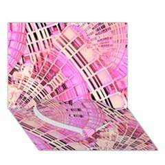 Pretty Pink Circles Curves Pattern Heart Bottom 3D Greeting Card (7x5)