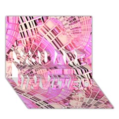 Pretty Pink Circles Curves Pattern YOU ARE INVITED 3D Greeting Card (7x5)