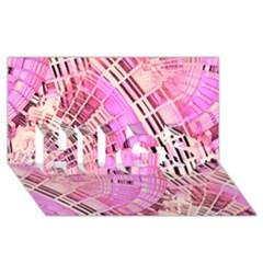 Pretty Pink Circles Curves Pattern HUGS 3D Greeting Card (8x4)