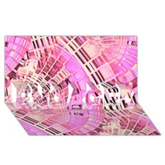 Pretty Pink Circles Curves Pattern ENGAGED 3D Greeting Card (8x4)