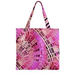 Pretty Pink Circles Curves Pattern Zipper Grocery Tote Bag