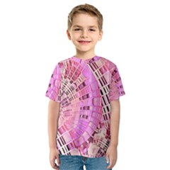 Pretty Pink Circles Curves Pattern Kids  Sport Mesh Tee