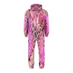 Pretty Pink Circles Curves Pattern Hooded Jumpsuit (Kids)