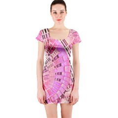 Pretty Pink Circles Curves Pattern Short Sleeve Bodycon Dress