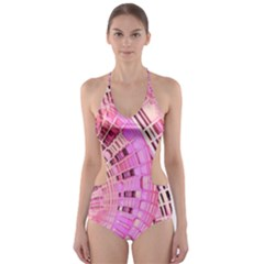 Semi circles abstract modern art pink Cut-Out One Piece Swimsuit
