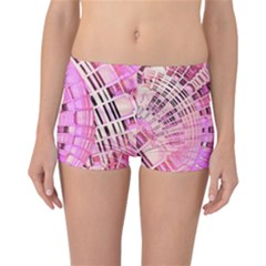 Pretty Pink Circles Curves Pattern Reversible Boyleg Bikini Bottoms