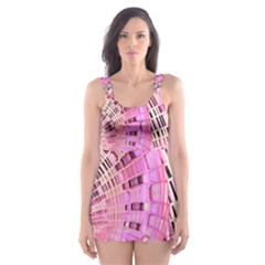 Semi circles abstract modern art pink Skater Dress Swimsuit
