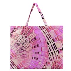 Pretty Pink Circles Curves Pattern Zipper Large Tote Bag