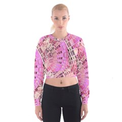 Pretty Pink Circles Curves Pattern Women s Cropped Sweatshirt