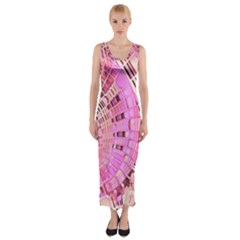 Semi circles abstract modern art pink Fitted Maxi Dress