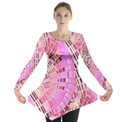 Pretty Pink Circles Curves Pattern Long Sleeve Tunic