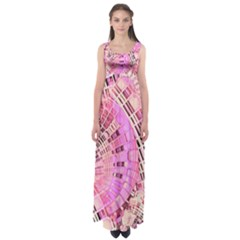 Pretty Pink Circles Curves Pattern Empire Waist Maxi Dress