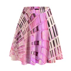Pretty Pink Circles Curves Pattern High Waist Skirt
