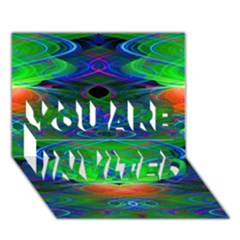 Neon Night Dance Party YOU ARE INVITED 3D Greeting Card (7x5)