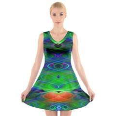 Neon Night Dance Party V Neck Sleeveless Skater Dress