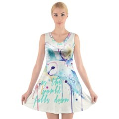 Labyrinth Barn Owl V-Neck Sleeveless Skater Dress