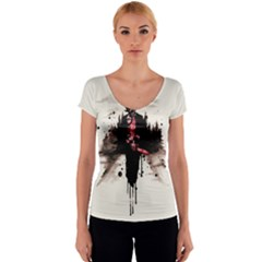 Leatherface 1974 Women s V-Neck Cap Sleeve Top