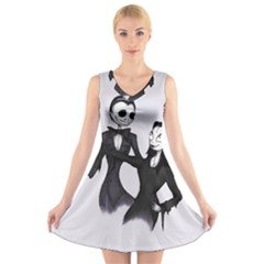 Jack & Sally Addams  V-Neck Sleeveless Skater Dress