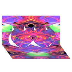 Neon Night Dance Party Pink Purple Twin Hearts 3D Greeting Card (8x4)