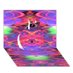 Neon Night Dance Party Pink Purple Apple 3D Greeting Card (7x5)